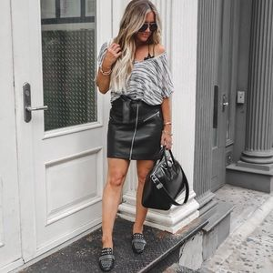 Express black faux leather mini skirt